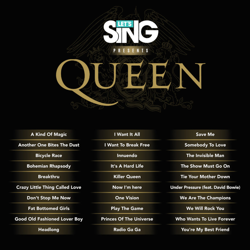 listado canciones let's sing queen
