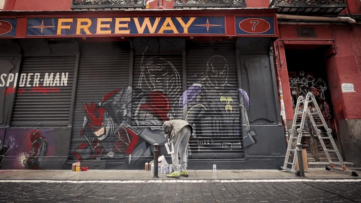 mural de arte urbano de Marvels Spider Man Miles Morales