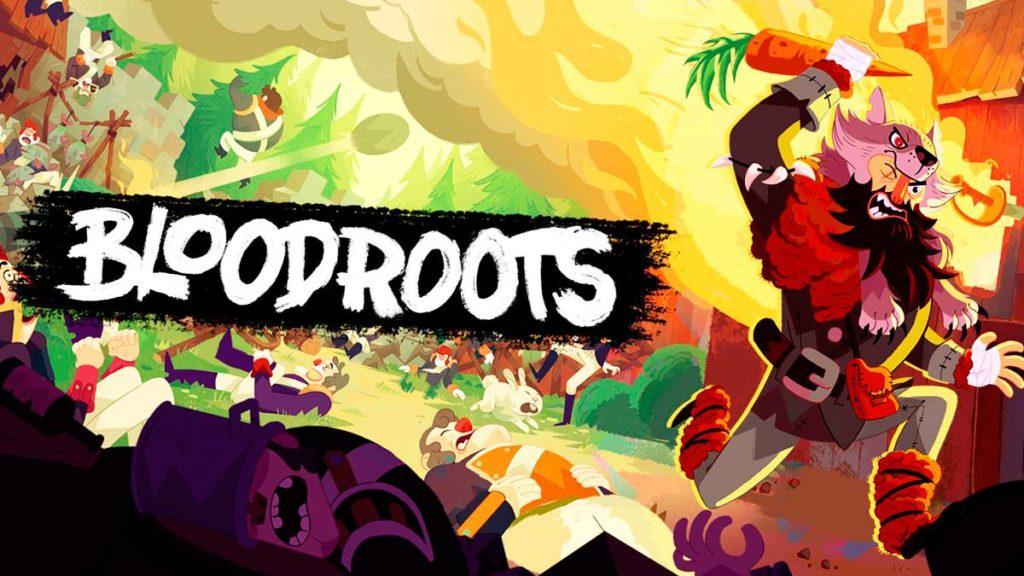 Portada de juego Bloodroots, personaje vestido con traje de lobo que sostiene una zanahora