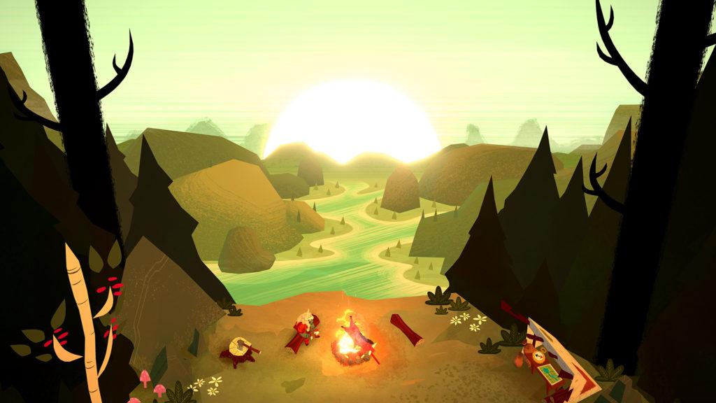 Escena que muestra a Mr. Woolf en una hoguera, zona de descanso del juego.