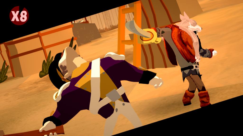 Escena que muestra el final de un combo contra enemigos en Bloodroots
